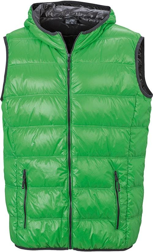 Lehká pánská péřová vesta JN1062 - Zelená / tmavě šedá | XXL