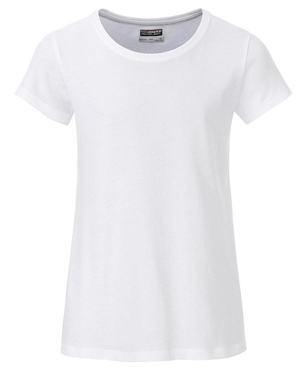 Klasické dívčí tričko z biobavlny 8007G - Bílá | XL