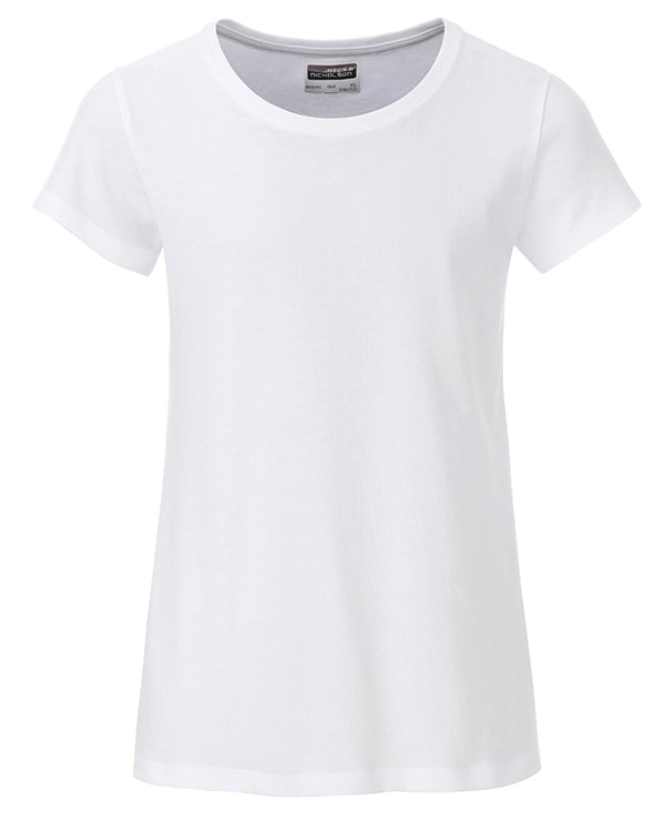 Klasické dívčí tričko z biobavlny 8007G - Bílá | M