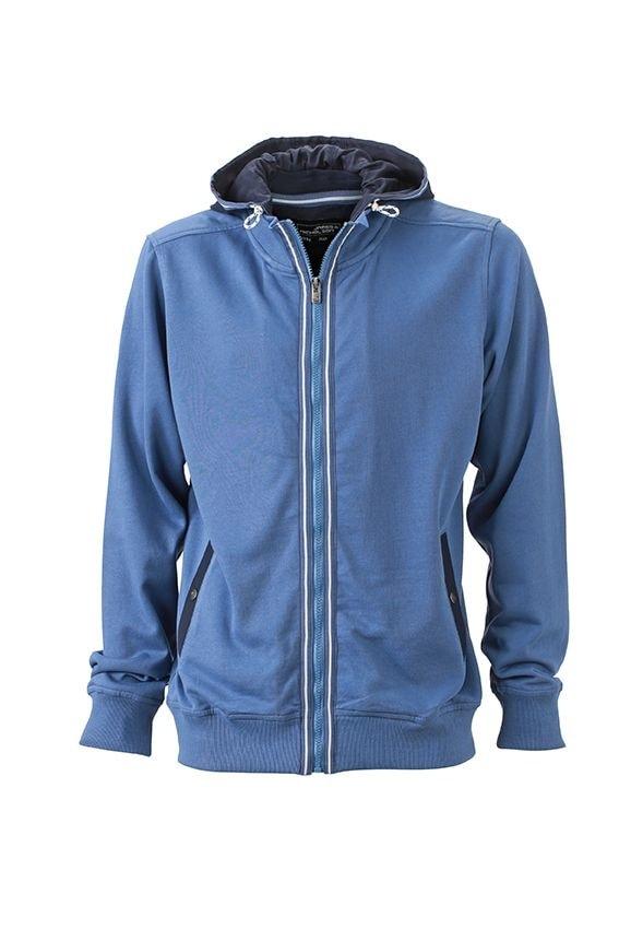 Pánská mikina s kapucí na zip JN996 - Džínová / tmavě modrá | XXXL