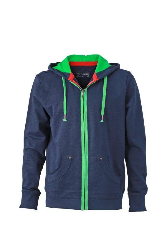 Pánská mikina na zip Urban JN982 - Tmavě modrá / kapradinově zelená | XXXL