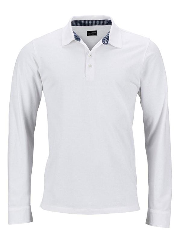 Pánská polokošile s dlouhým rukávem JN714 - Bílo-tmavě modro-bílá | XXL