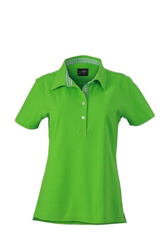 Elegantní dámská polokošile JN969 - Limetkově zelená / limetkově-bílá | L