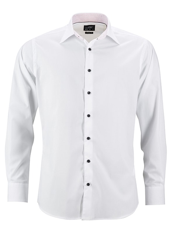 Pánská bílá košile JN648 - Bílo-červená | L