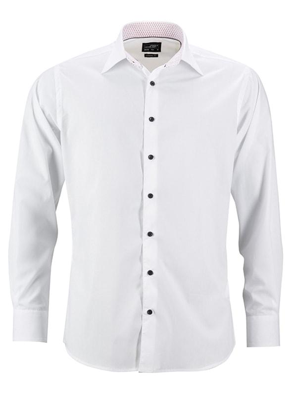 Pánská bílá košile JN648 - Bílo-červená | XXL