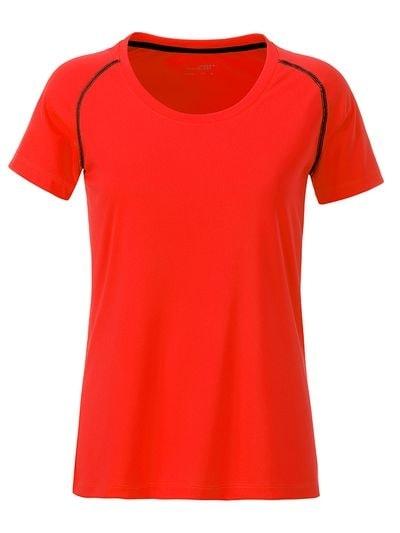 Dámské funkční tričko JN495 - Jasně oranžová / černá | L