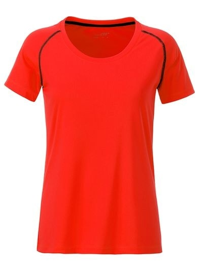 Dámské funkční tričko JN495 - Jasně oranžová / černá   M