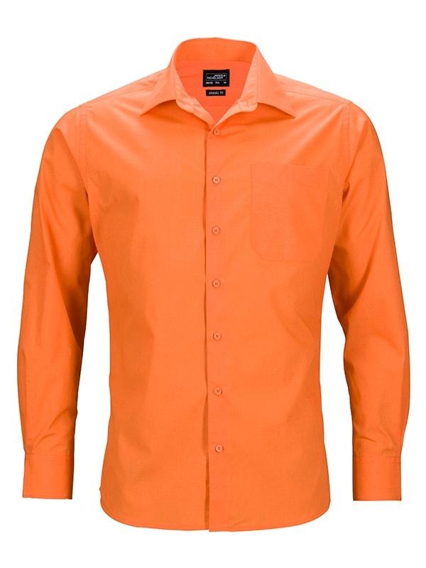Pánská košile s dlouhým rukávem JN642 - Oranžová   S