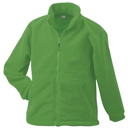 Dětská fleece mikina JN044k - Limetkově zelená | XS