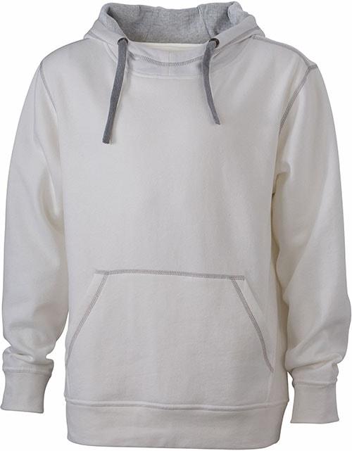 Pánská mikina s kapucí JN961 - Šedo-bílá / šedá | S