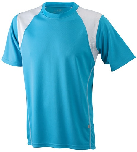 Dětské sportovní tričko s krátkým rukávem JN397k - Tyrkysová / bílá | L