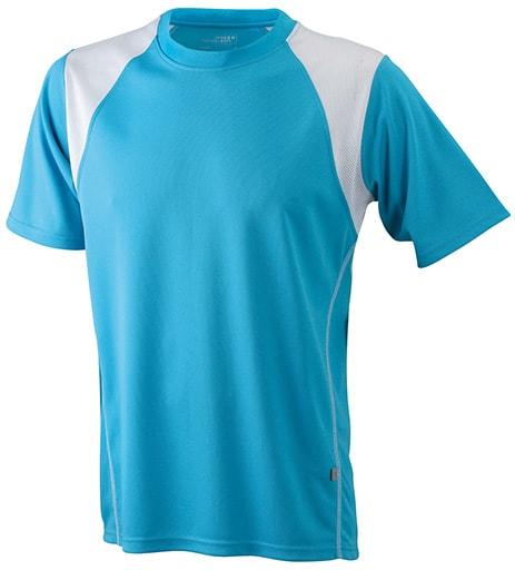 Dětské sportovní tričko s krátkým rukávem JN397k - Tyrkysová / bílá | XL
