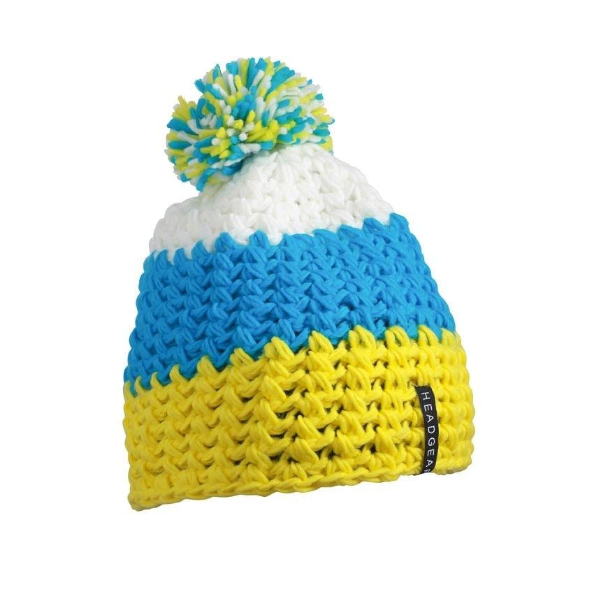 Háčkovaná zimní čepice MB7940 - Žlutá / pacific / bílá | uni