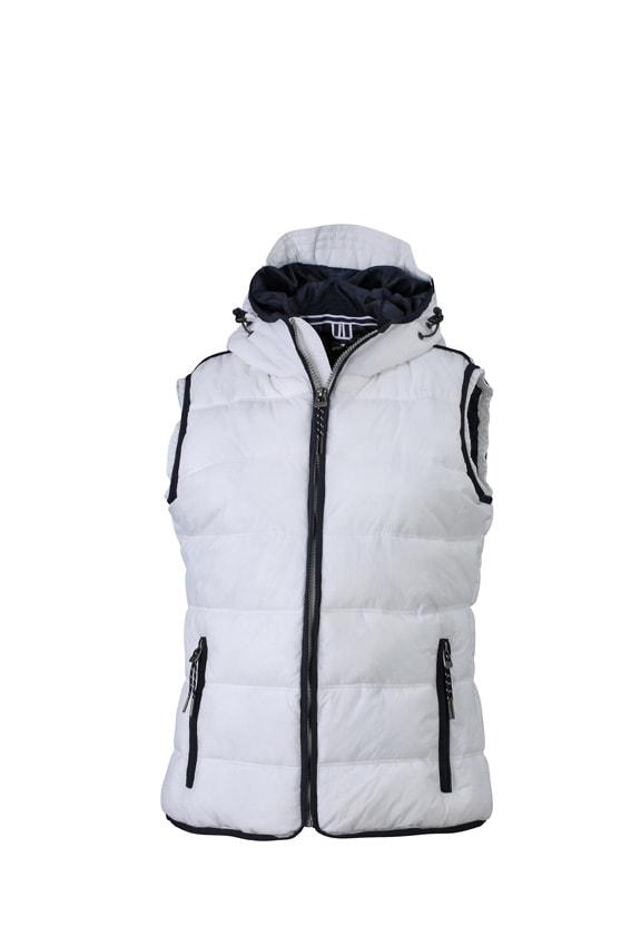 Dámská sportovní vesta JN1075 - Bílá / tmavě modrá | S