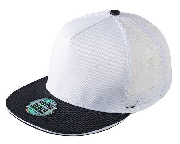 Kšiltovka s rovným kšiltem MB6636 - Bílá / černá