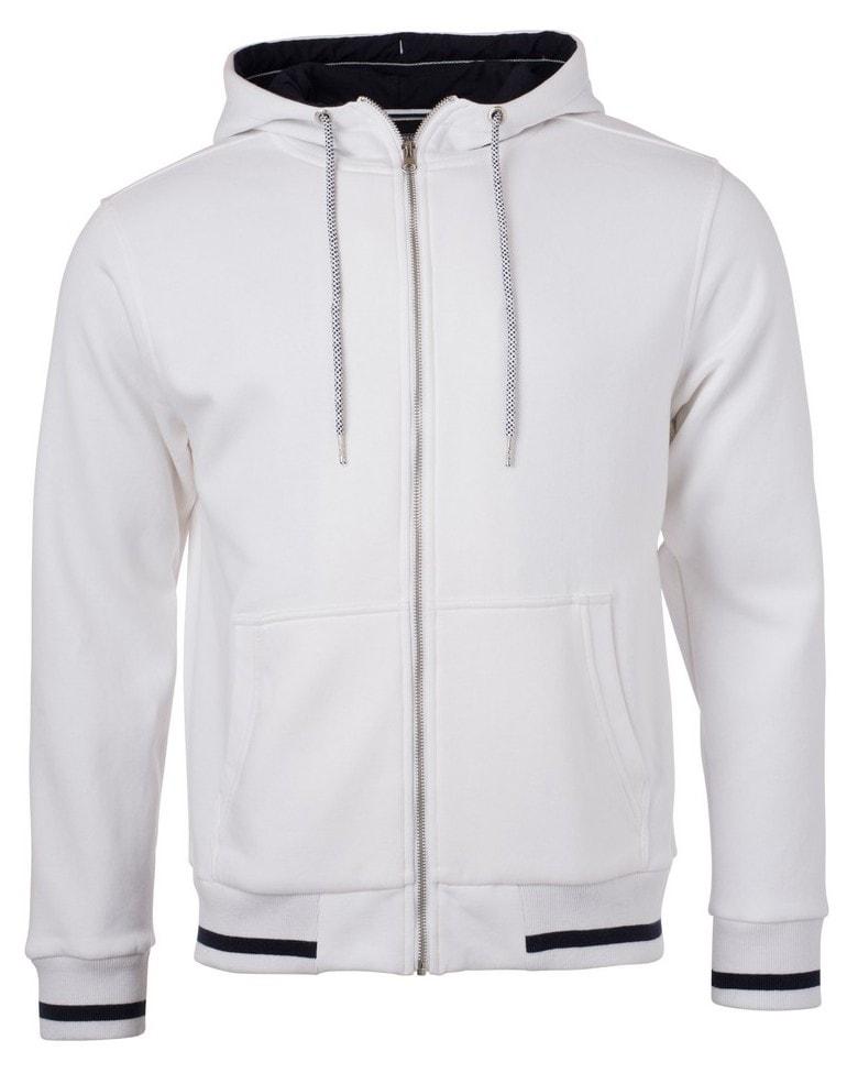 Pánská mikina na zip s kapucí Club JN776 - Bílá   tmavě modrá  80f5c1dfcd