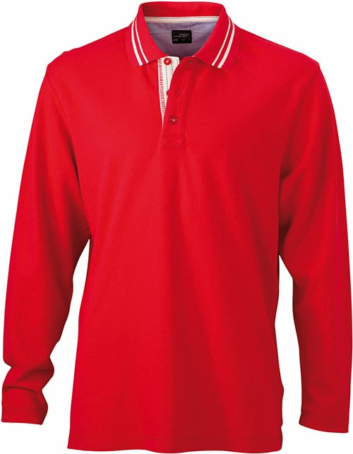 Pánská polokošile s dlouhým rukávem JN968 - Červená / šedo-bílá | XXXL