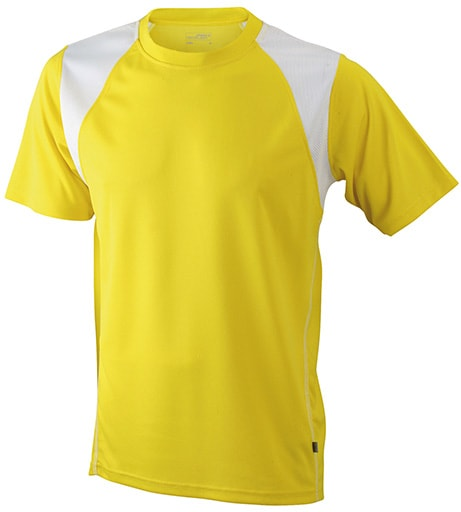 Dětské sportovní tričko s krátkým rukávem JN397k - Žlutá / bílá | XL