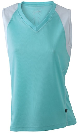 Dámské běžecké tričko bez rukávů JN394 - Mátová / bílá | XL