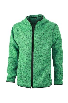 Pánská mikina s kapucí na zip JN589 - Zelený melír / černá | XXXL