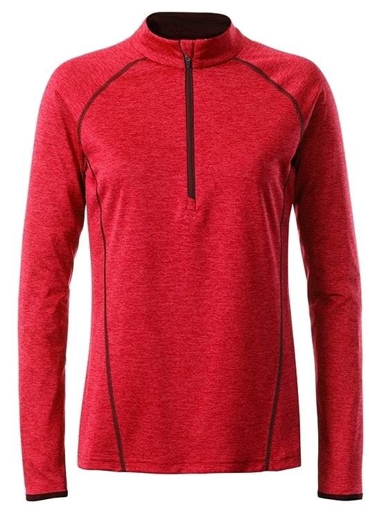Dámské funkční tričko s dlouhým rukávem JN497 - Červený melír - titan | L