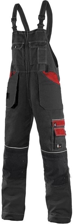 Zimní pracovní kalhoty s laclem ORION KRYŠTOF - Černá / červená | 56-58