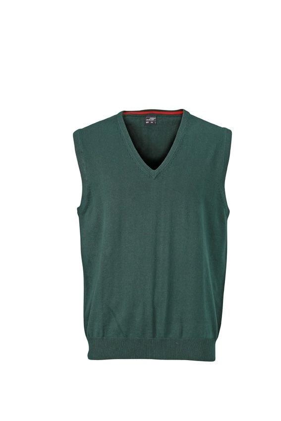 Pánský svetr bez rukávů JN657 - Lesní zelená | S