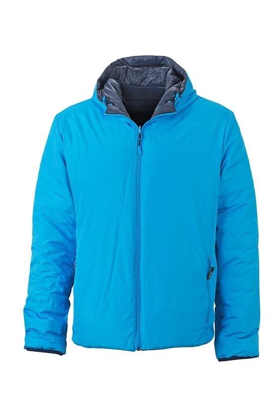 Lehká pánská oboustranná bunda JN1092 - Tmavě modrá / aqua | S
