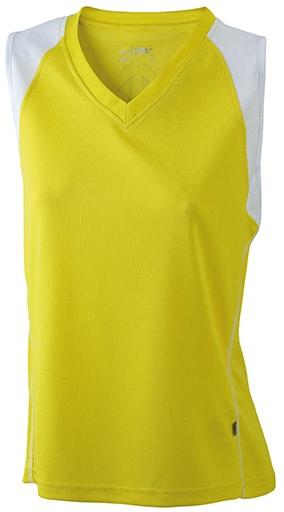Dámské běžecké tričko bez rukávů JN394 - Žlutá / bílá   S