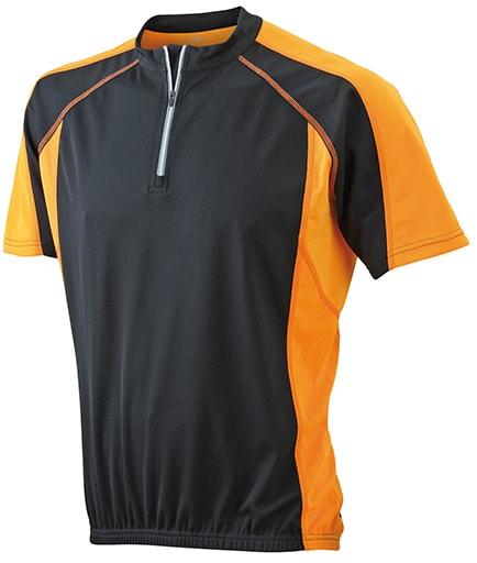Pánské cyklistické tričko JN420 - Černá / oranžová | S