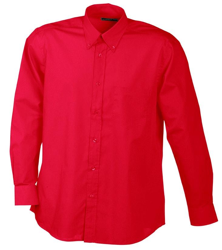 Pánská košile s dlouhým rukávem JN600 - Červená   S