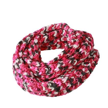 Pletená šála MB7981 - Růžová / šedo-bílá   65 x 20 cm