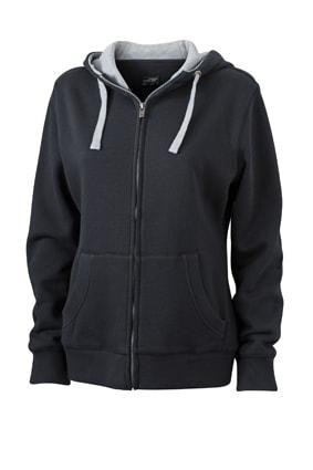 Dámská mikina na zip s kapucí JN962 - Černá / šedá | M