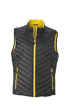 Lehká pánská oboustranná vesta JN1090 - Černá / žlutá | L