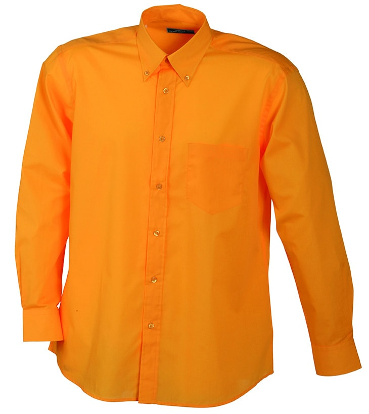 Pánská košile s dlouhým rukávem JN600 - Oranžová | XXXL