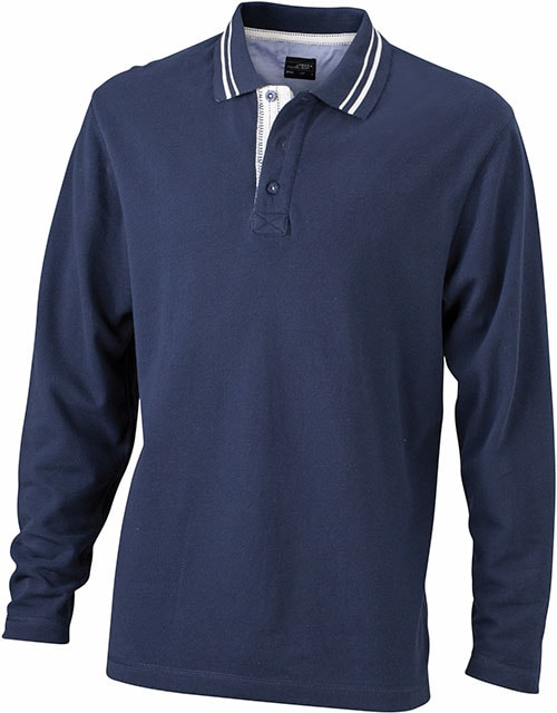 Pánská polokošile s dlouhým rukávem JN968 - Tmavě modrá / šedo-bílá | XXXL