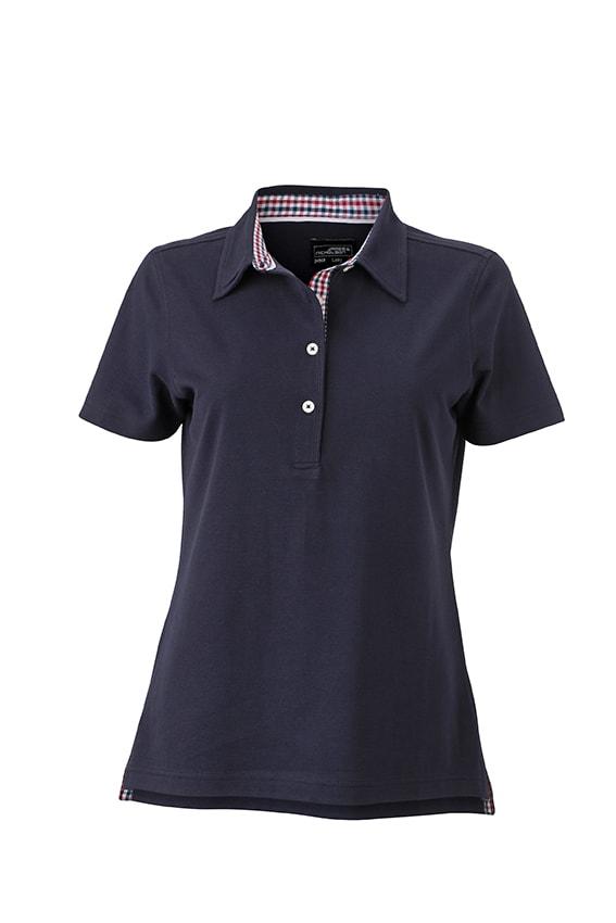 Elegantní dámská polokošile JN969 - Tmavě modrá / červeno-tmavě modro-bílá   L
