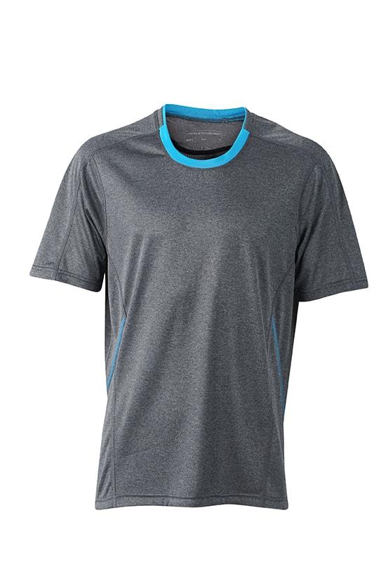Pánské běžecké tričko JN472 - Černý melír / atlantik | S