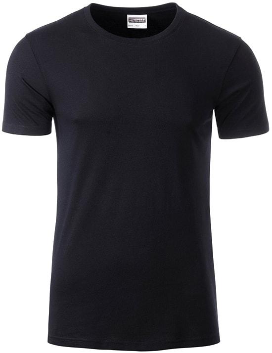 Klasické pánské tričko z biobavlny 8008 - Černá | M