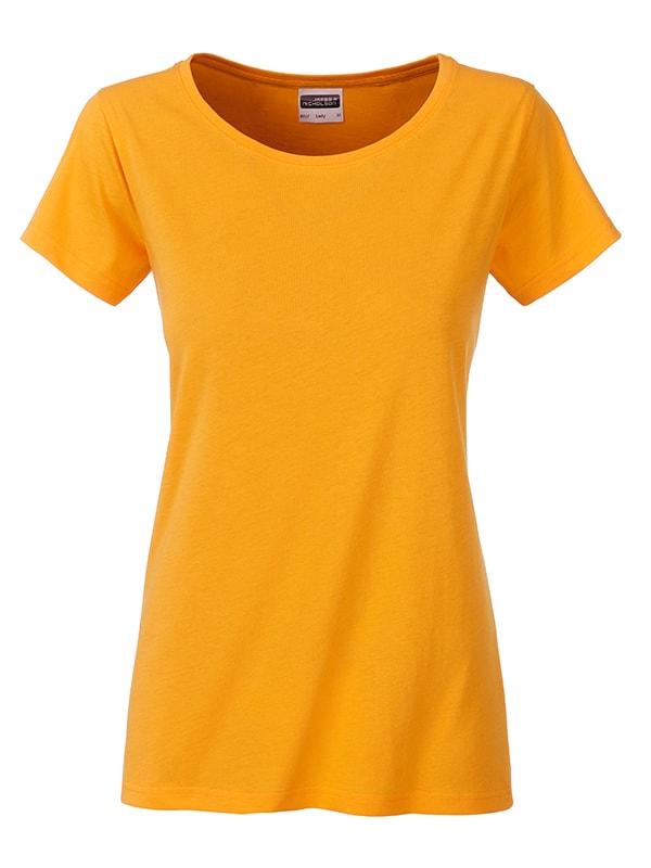 Klasické dámské tričko z biobavlny 8007 - Zlatě žlutá | L
