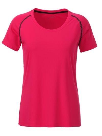 Dámské funkční tričko JN495 - Jasně růžová / titanová | L
