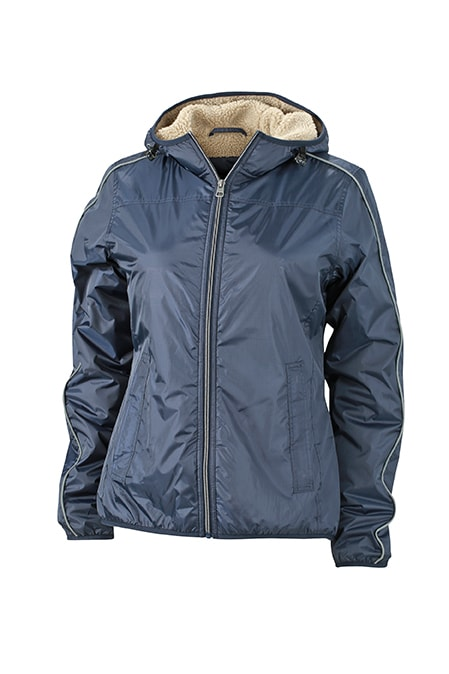 Dámská zimní bunda Beránek JN1103 - Tmavě modrá / camel   M
