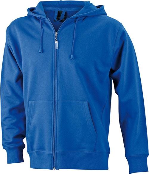 Pánská mikina na zip s kapucí JN042 - Královská modrá | XXXL