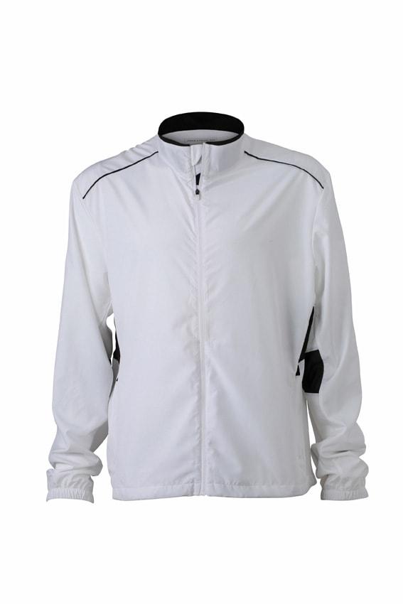 Pánská běžecká bunda JN476 - Bílá / černá | XXL