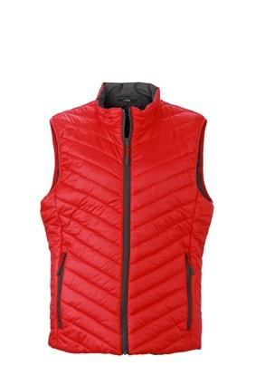 Lehká pánská oboustranná vesta JN1090 - Červená / tmavě šedá | S