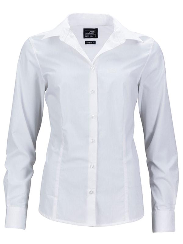 Dámská košile s dlouhým rukávem JN641 - Bílá | XXXL