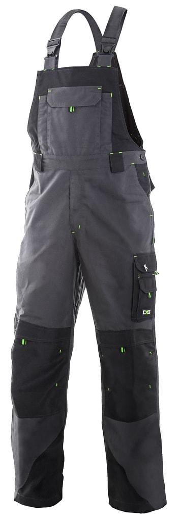 Pracovní kalhoty s laclem SIRIUS TRISTAN - Šedá / zelená   52