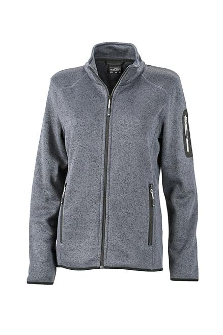 Dámská bunda z pleteného fleecu JN761 - Tmavě šedý melír / stříbrná | S