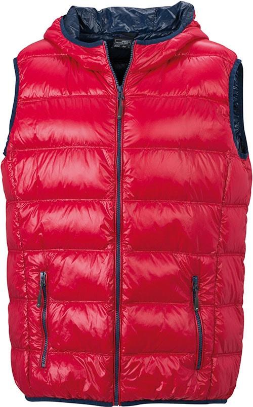 Lehká pánská péřová vesta JN1062 - Červená / tmavě modrá | XL