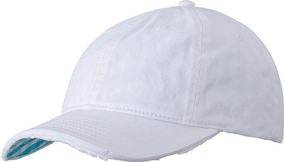 Bavlněná kšiltovka Club MB6568 - Bílá / tyrkysová | uni